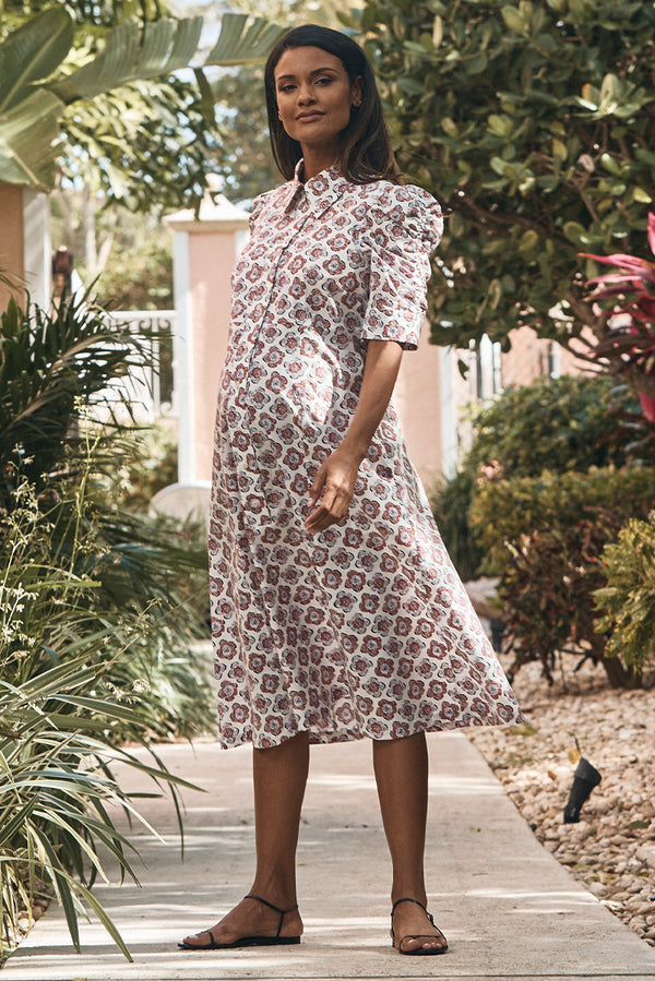 shirred sleeve maternity dress in peony front view - frances hart