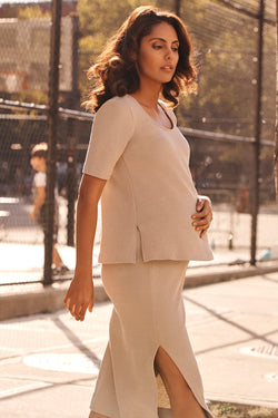 knit maternity top in taupe front view - frances hart