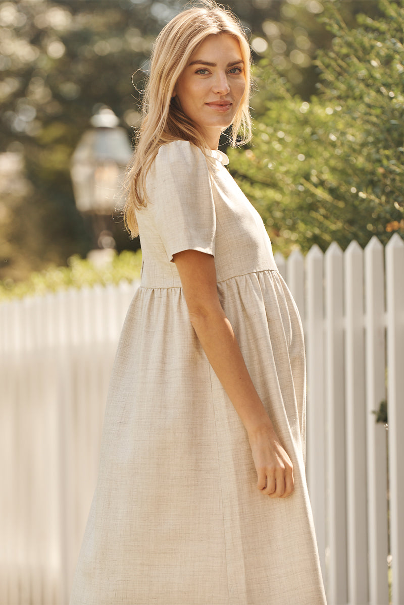 peter pan collar maternity dress in flax side view 2 - frances hart