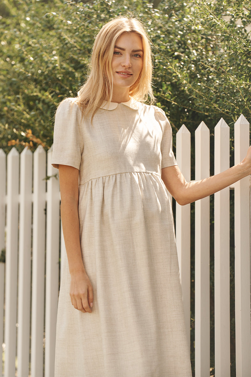 peter pan collar maternity dress in flax front view - frances hart