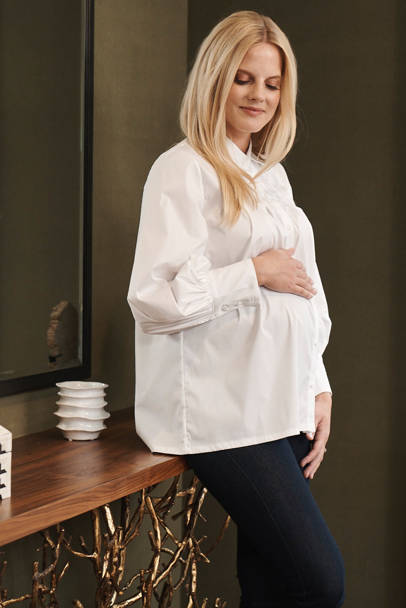 Pleated Button Down Top