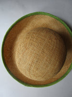 Avocado Green/Natural Neiman Marcus Italy Hat Grevi Mode Brim Straw Sun Derby Church Easter