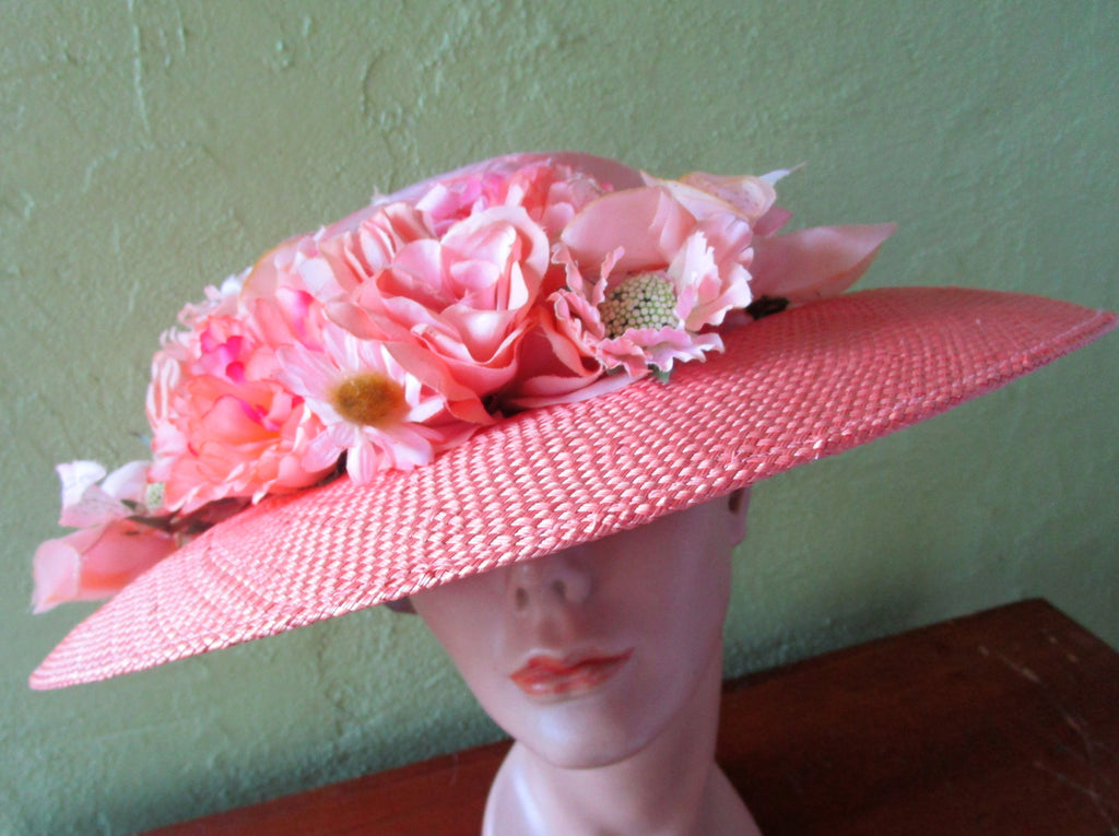 Eric Javits Peach Straw Silk Dupione Hat Wide Brim Wedding Sun Derby Church Easter Tea