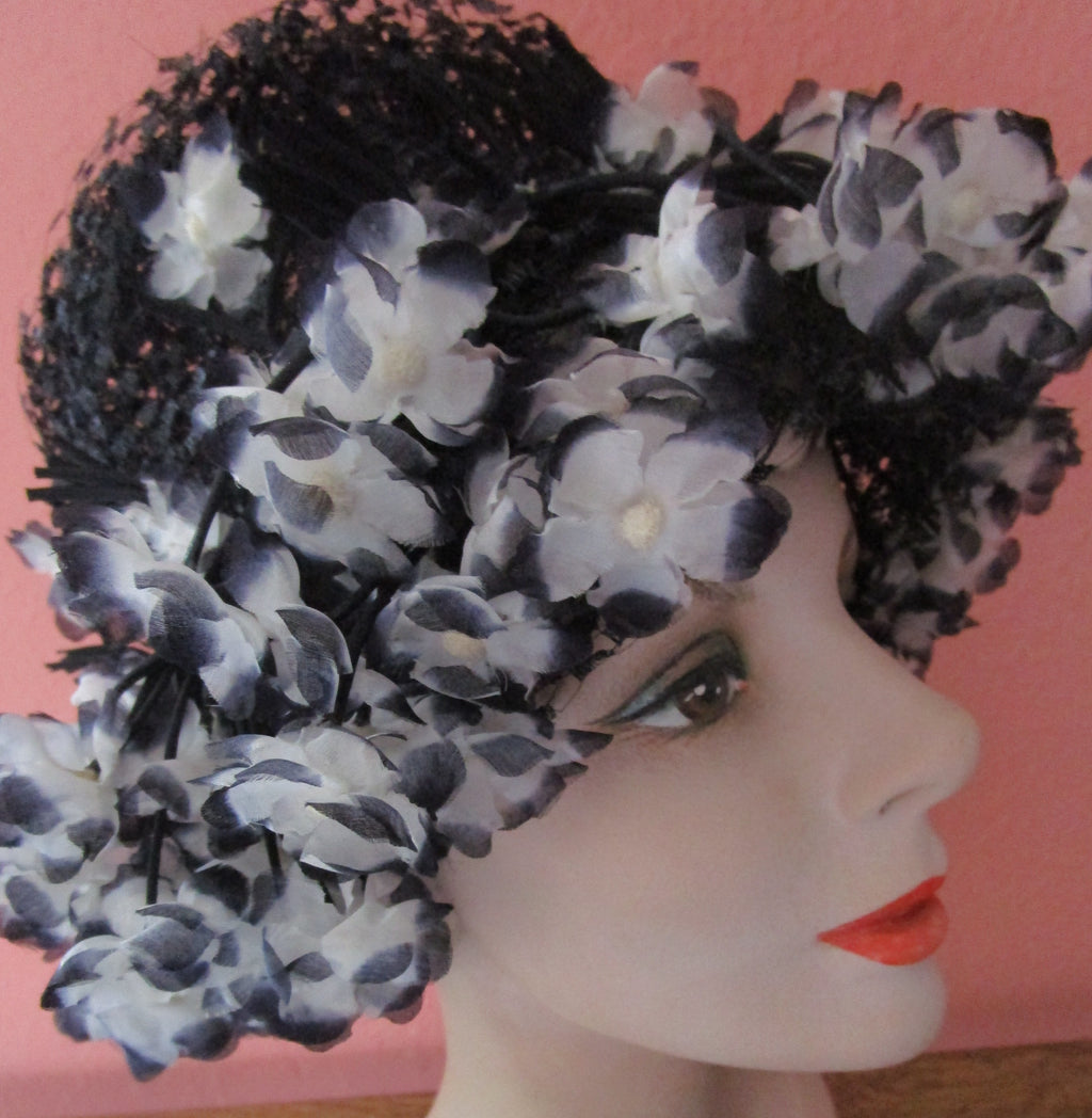 Silk Dangly Flower Black Veiling Mesh Bucket Hat 50s 60s Spring Garden Velvet Church Derby