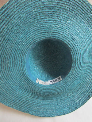 Marzi Italy Teal Blue Straw Wide Brim Hat Saks Fifth Ave Sun Derby Church Easter Beach