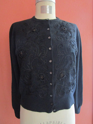 "b41"" Dalton Cashmere Cardigan Knit Sweater Black Beaded Soutache Vintage Pearl Buttons"