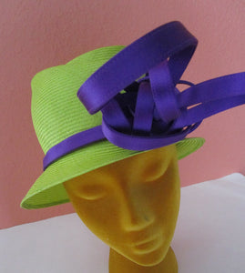Philip Treacy London Neon Green Purple Tall Asymetrical Hat Church Derby Wedding