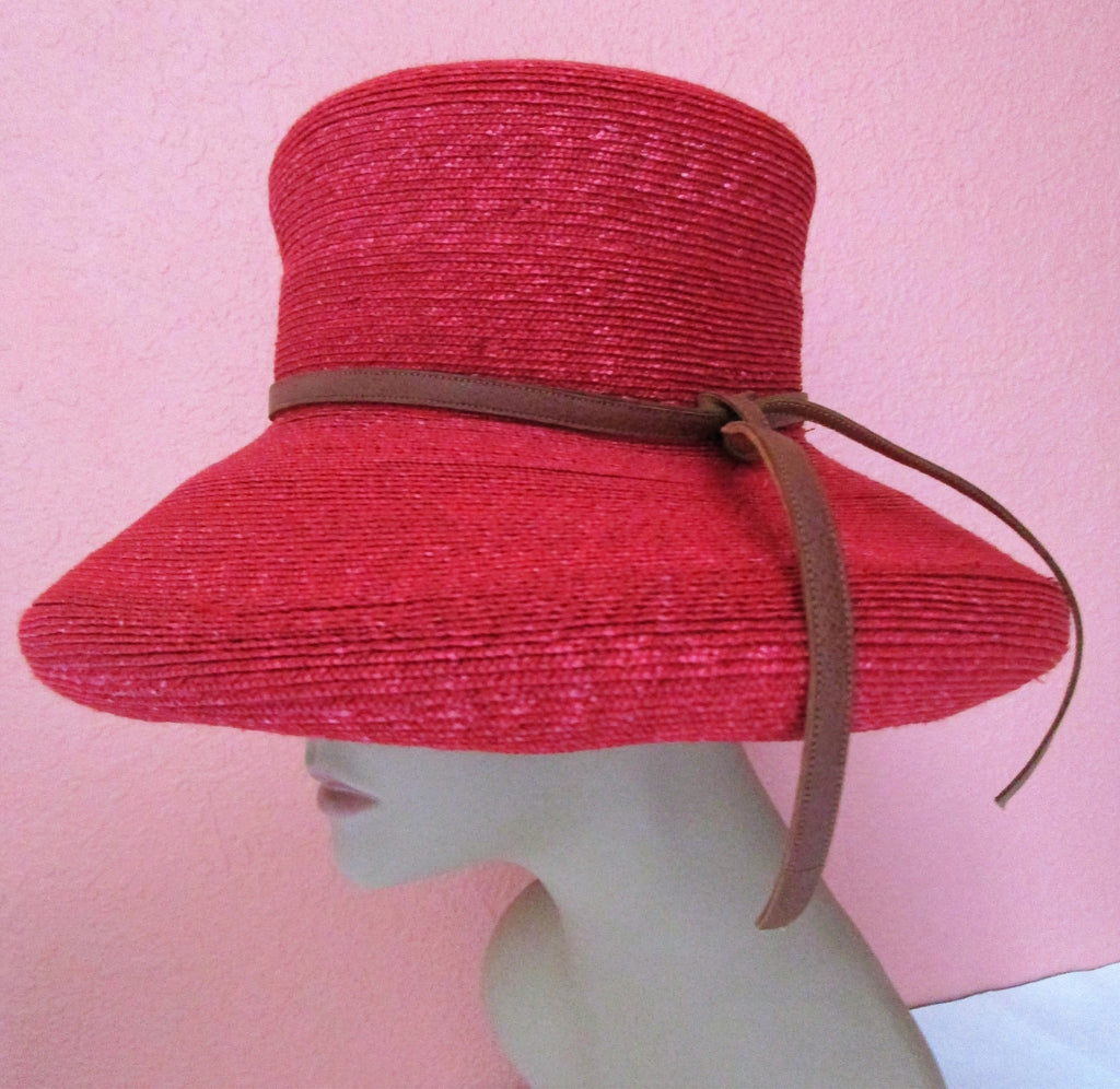 Rolled Brim Herald Heart Red Straw Hat England Sun Derby Church Easter Beach Pool Tea