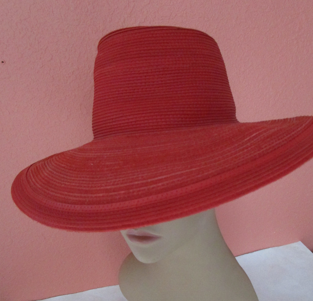 Red Patricia Underwood Western Chic Corded Leather Wide Brim Hat New York