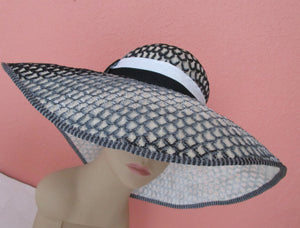 Missoni Italy Ombre Textured Sinamay Straw Wide Brim Hat Sun Derby Church Easter