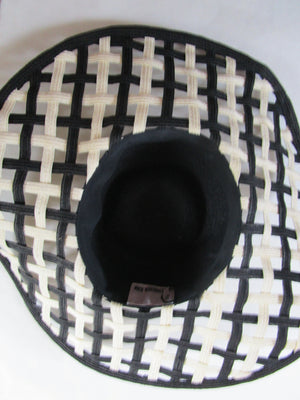 Open Lattice Brim Eugenia Kim Hat Black Ivory Straw Braid Church Derby Sun Pool Beach