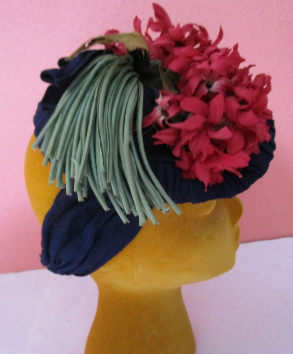 Vintage 1940s Rayon Crepe Snood Scarf Hat Navy Button Silk Flower Nosegay WW2 Fascinator