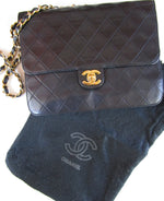 Authentic CHANEL Small Black Quilted Flap Purse Gold Chain Shoulder Bag France 70s Paris