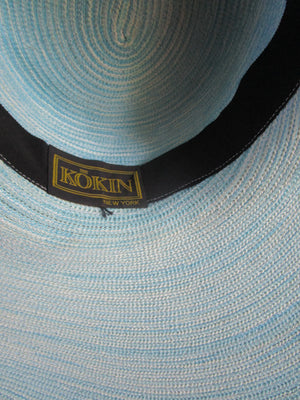 Ocean Blue Varigated Braid Summer Beach Hat Kokin Wide Brim Pool Party Vaca Boho