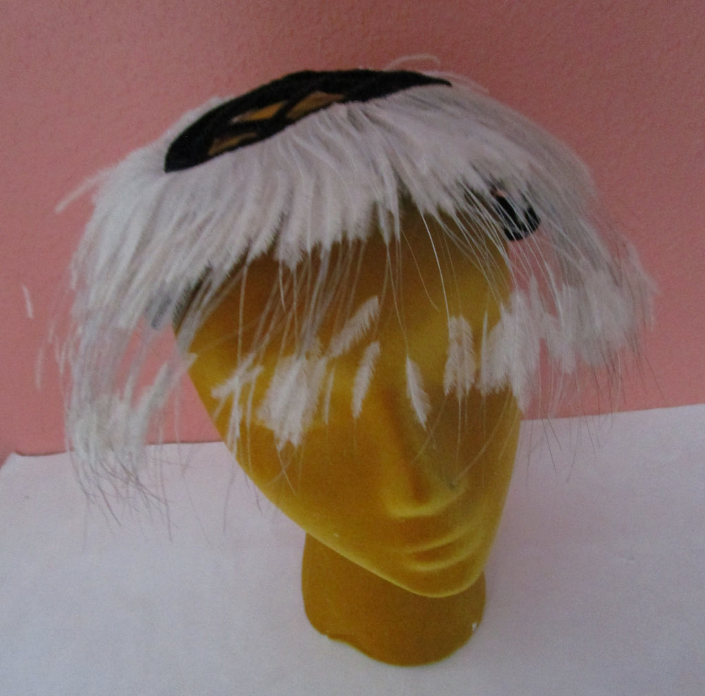 Lord Taylor Cage Hat Giggly Ostrich Feather Cocktail Party Vintage 1950s 60s Black Velvet