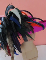 Explosion of Feathers Don Anderson Fuchsia Wool Felt Breton Hat Multi Plumes USA