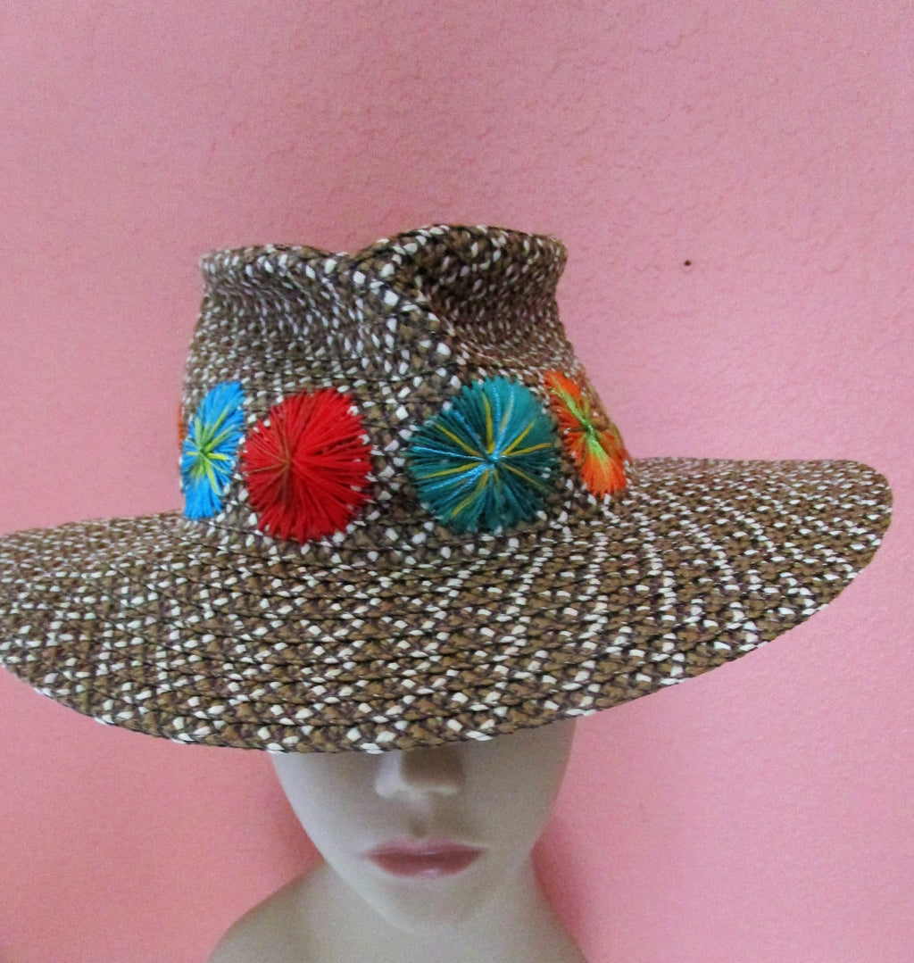 Packable Eric Javits Khaki Natural Straw Hat Vacation Sun Cruise Desert Embroidered Flowers