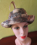 Jack McConnell Bowler Derby Hat Plume Covered Red Feather Custom Church