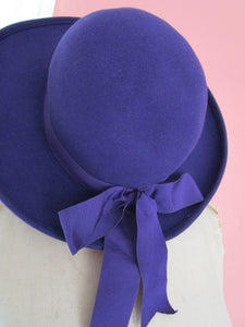 Mr John Classic Purple Wool Felt Bowler Breton Hat USA Grosgrain Bow