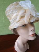 Frank Olive Sweet Ivory Braided Bucket Hat Bridal Pageant Church Derby