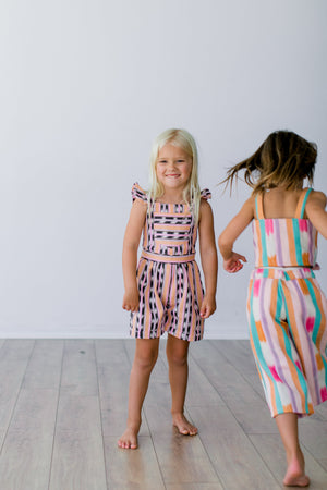 Load image into Gallery viewer, Sticks Peach Jaspe Romper, 3-4T