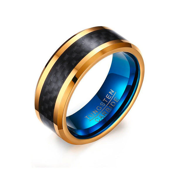 Golden Tungsten Steel & Carbon Fiber Ring