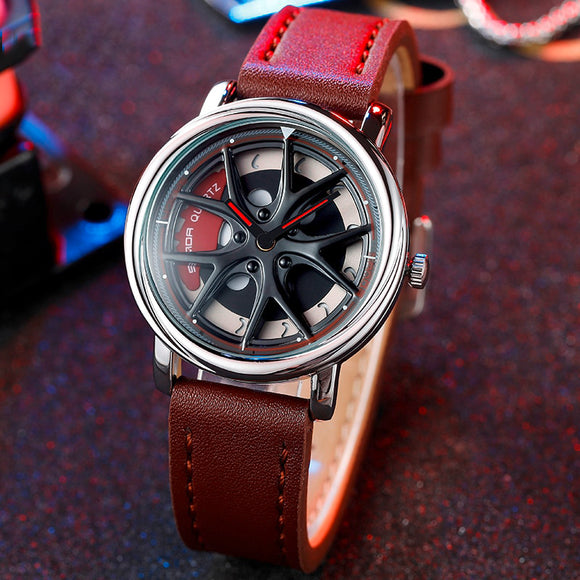 Spinning Wheel Quartz Watch Type A (Leather Strap)