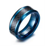Blue Tungsten steel & Carbon fiber Ring
