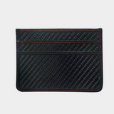 red stitching black carbon fiber wallet