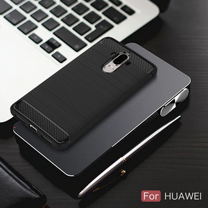 SHOCKPROOF Soft Carbon fiber phone case for any Huawei smartphone black