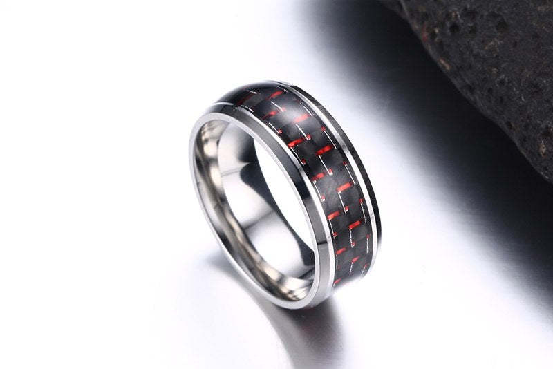 Red accents carbon fiber & Stainless steel ring