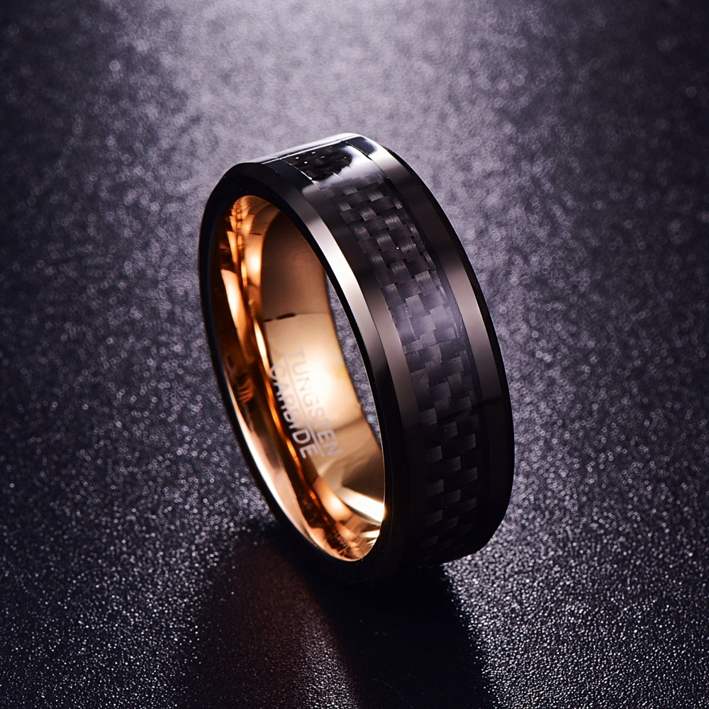 Anthracite & Rose Gold Tungsten Steel Carbon Fiber Ring