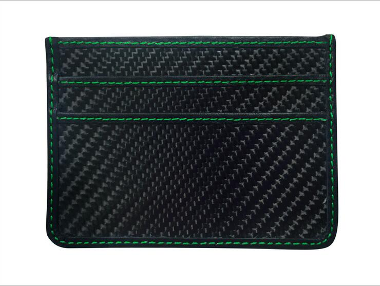 green stitching black carbon fiber wallet