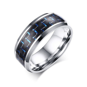 Blue accents carbon fiber & Stainless steel ring