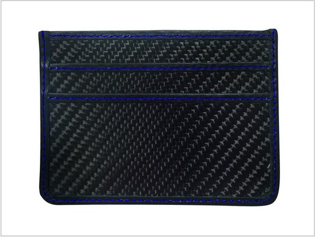 blue stitching black carbon fiber wallet