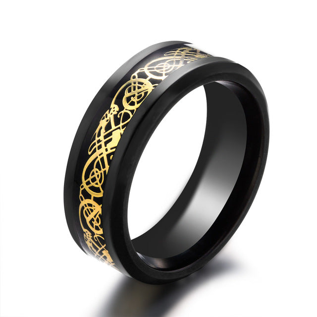 "Black stainless steel & gold carbon fiber ""dragon"" ring"