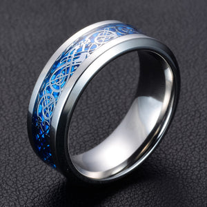 "Chrome stainless steel & light blue carbon fiber ""dragon"" ring"