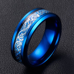 "Chrome blue stainless steel & silver carbon fiber ""dragon"" ring"