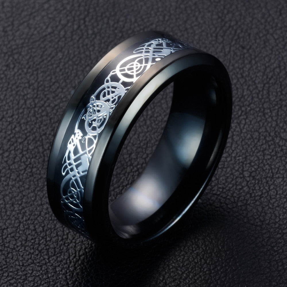 "Black stainless steel & white gold carbon fiber ""dragon"" ring"