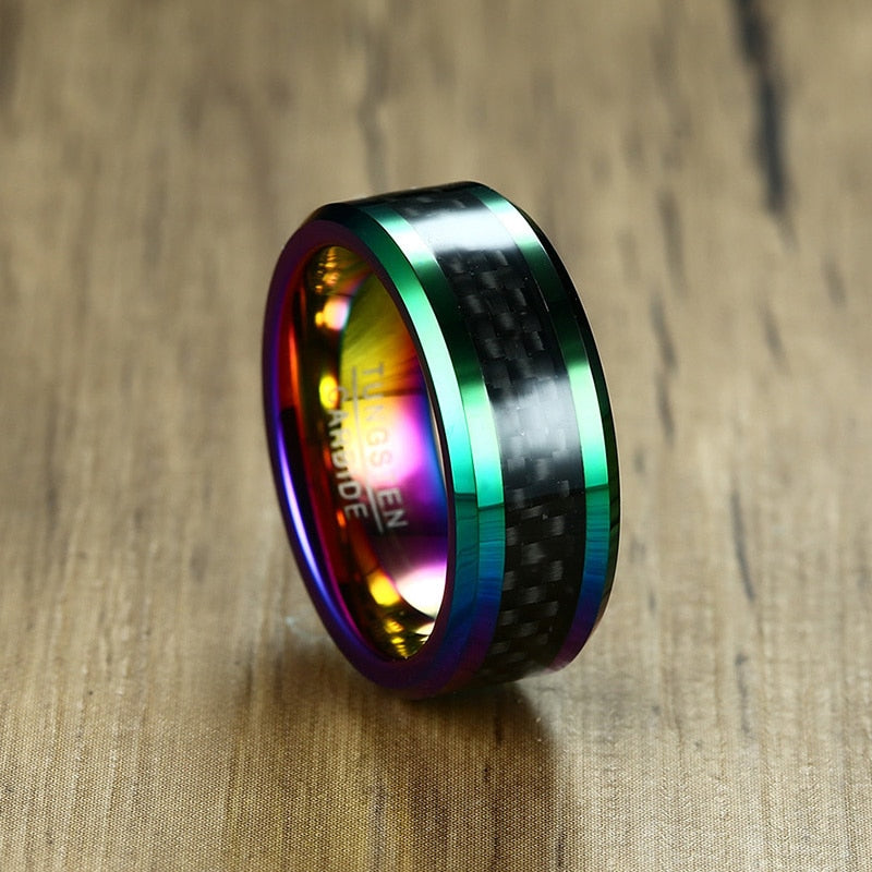 Multi-Color Tungsten Steel & Carbon Fiber Ring