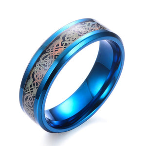 "Chrome blue stainless steel & holographic carbon fiber ""dragon"" ring"