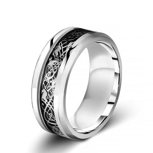 "Chrome stainless steel & black carbon fiber ""dragon"" ring"