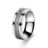 "Silver stainless steel & silver carbon fiber ""dragon"" ring"