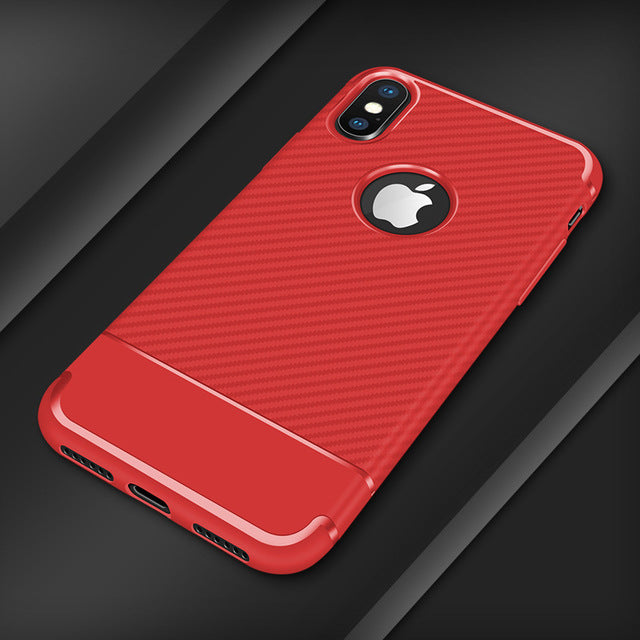iphone soft carbon fiber phone case red
