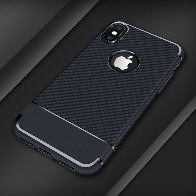 iphone soft carbon fiber phone case blue