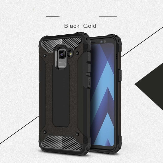 carbon fiber armoured phone case samsung A8 black