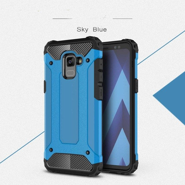 carbon fiber armoured phone case samsung A8 blue