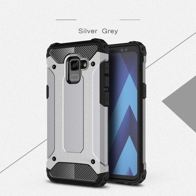 carbon fiber armoured phone case samsung A8 silver