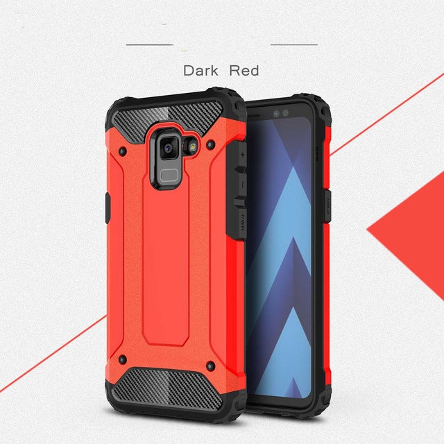 carbon fiber armoured phone case samsung A8 red