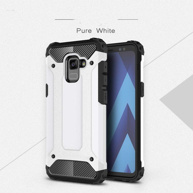 carbon fiber armoured phone case samsung A8 white
